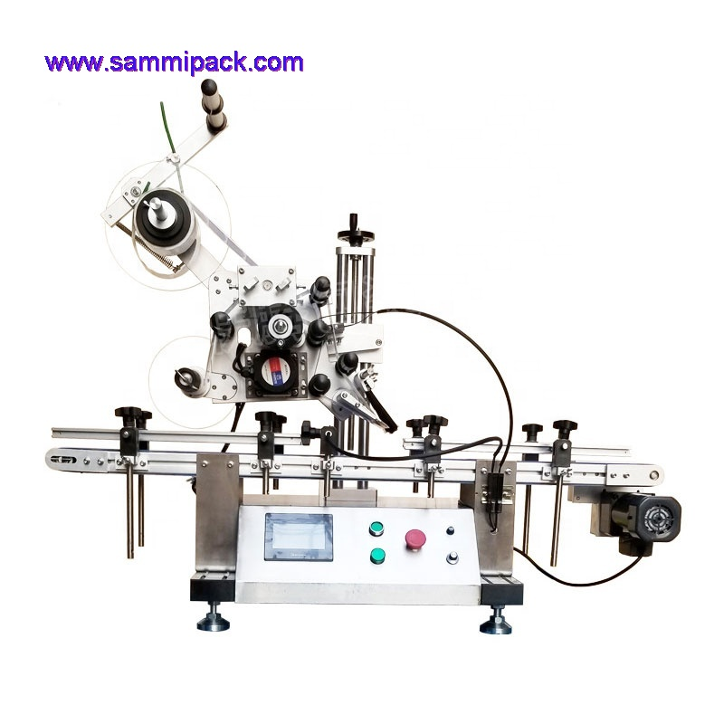 Automatic table top flat surface bottle labeling machine